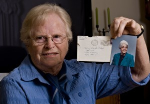 Betty Baker of Strasburg holds a letter she wrote that took almost six decades to reach her friend Darla Clark in Minnesota.   Rich Cooley/Daily